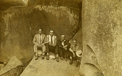 Four Men at Devil's Den, Gettysburg, Pa.
