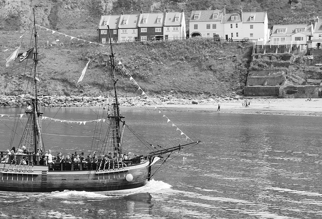 The Bark Endeavour in Whitby Harbour