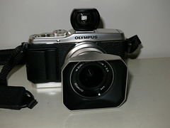 Olympus E-P3 with 12/2 lens and Voigtlander 25mm viewfinder.