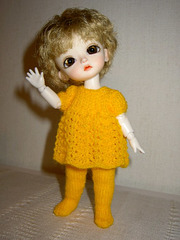 Eggie has a new dress - as yellow as gold - or egg yolk.