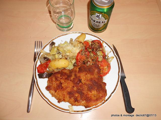 Tian au six légumes revisité et escalope panée  A table