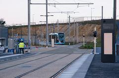 BESANCON: Premiers essais du tram: départ du dépot 01.