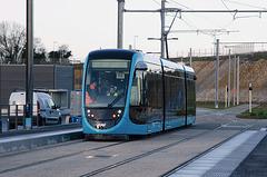 BESANCON: Premiers essais du tram: départ du dépot 03.