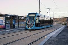 BESANCON: Premiers essais du tram: départ du dépot 04.