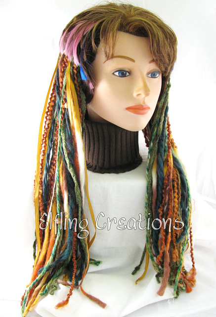 Tribal Green and Brown Yarn Hair Falls Dreadfalls