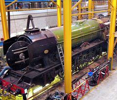 """Flying Scotsman"" undergoing maintenance at York Railway Museum."