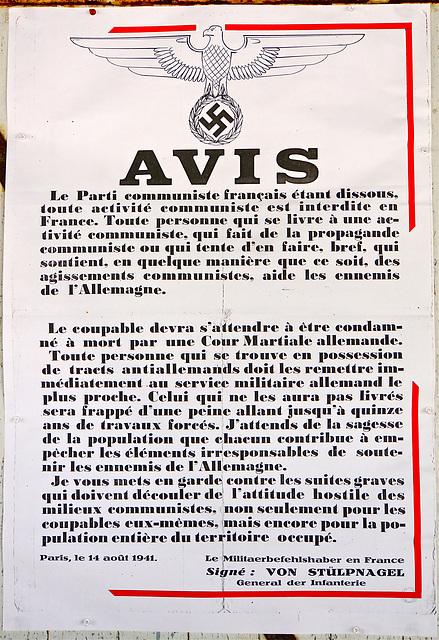 Affiche de 1941 sous l'Occupation / Afiŝo de 1941 sub la Okupacio
