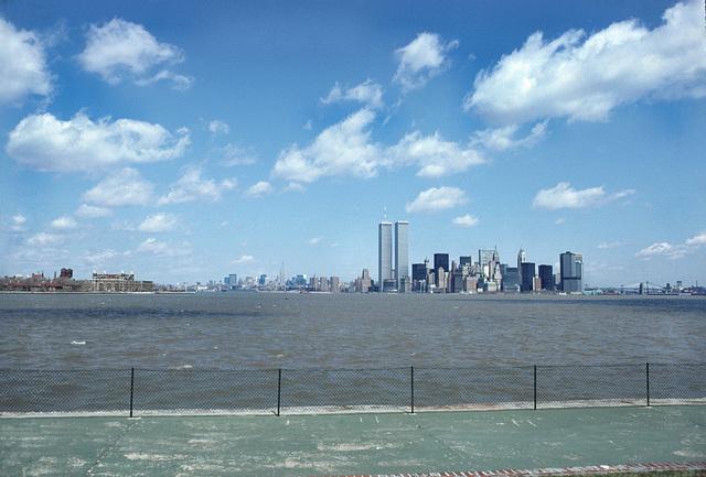 Ellis Island, World Trade Towers and Brooklyn Bridge from Liberty Island