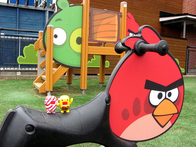 Sunny and Candy on the Angry Birds playground