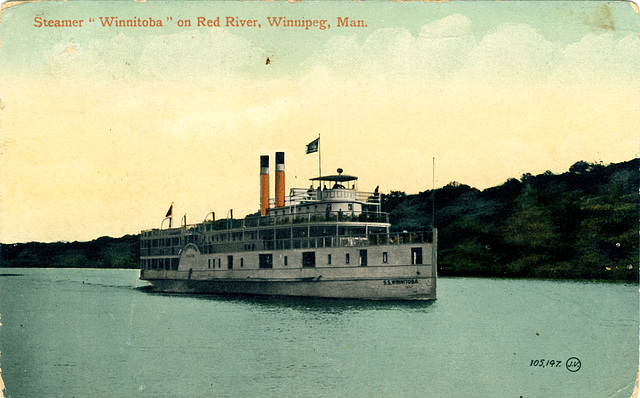 "Steamer ""Winnitoba"" on Red River, Winnipeg, Man."