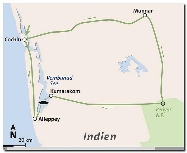 Route Kerala, Indien 2014