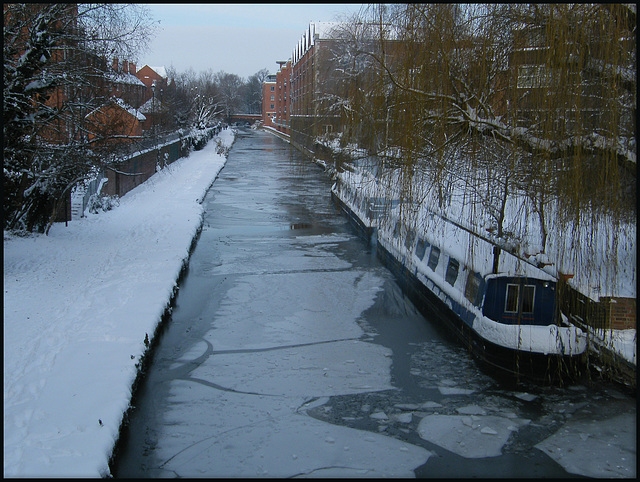 icy canal north of Oxford