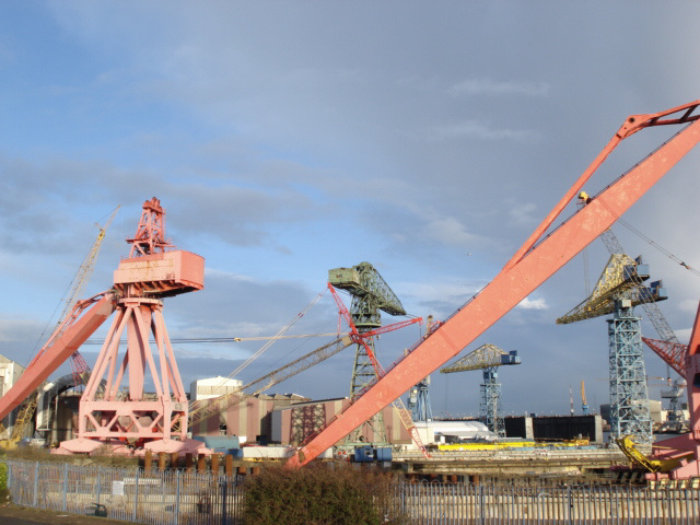Cranes, mainly disused.