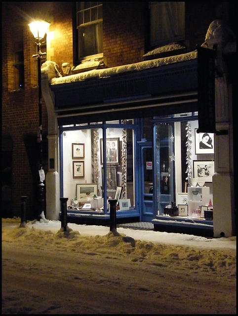 art shop on a snowy night