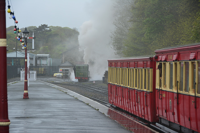 Isle of Man 2013 – Engine № 10 G.H. Wood approaching to be connected to the train