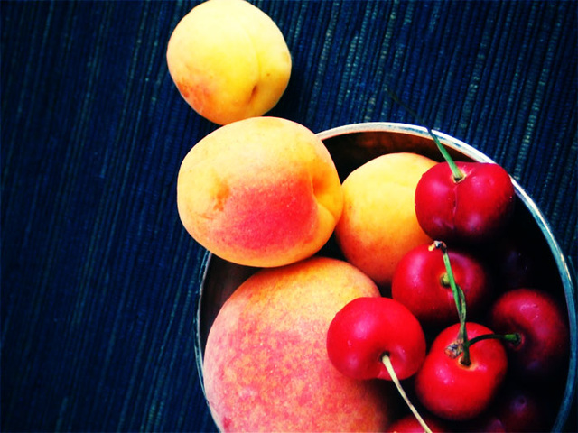 peach, apricots and cherries