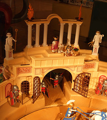 Detail of the Playmobil Roman Colosseum Display in  FAO Schwarz, August 2007