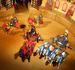 Detail of the Charioteers in the Playmobil Roman Colosseum Display in  FAO Schwarz, August 2007