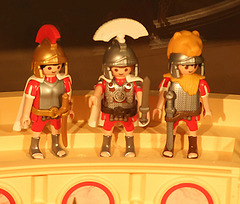 Detail of the Soldiers in the Playmobil Roman Colosseum Display in  FAO Schwarz, August 2007