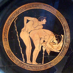 Detail of a Kylix with a Sex Scene Attributed to the Foundry Painter in the Getty Villa, July 2008