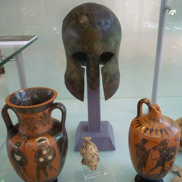 Greek Helmet and Vases