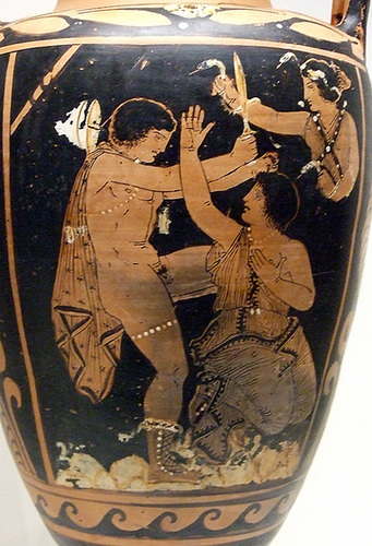 Greek wrestling vase