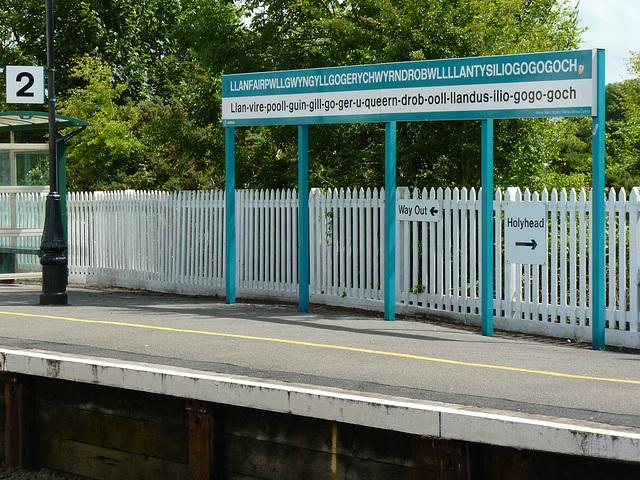 Llanfair PG Station Sign - 1 July 2013