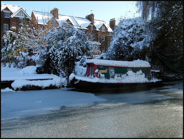 canal boat on ice
