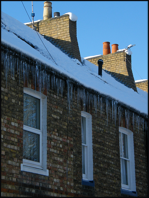 icicles on the eaves