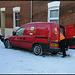post van in the snow