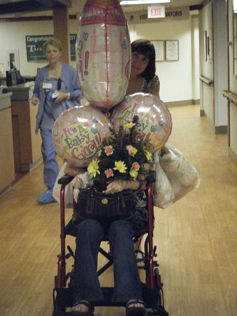 My auntie's Pam and Harla hidden under my balloons