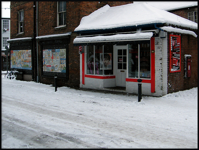 City Barbers in the snow