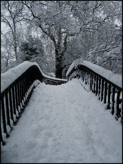 snow on Isis Bridge