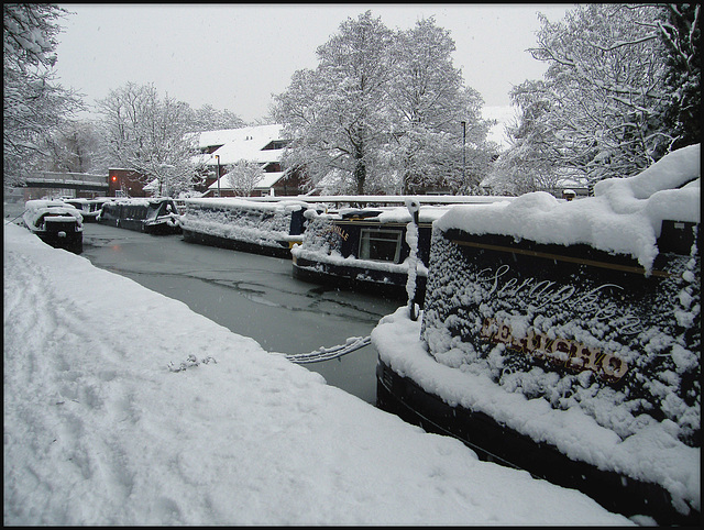 snow-frosted boats