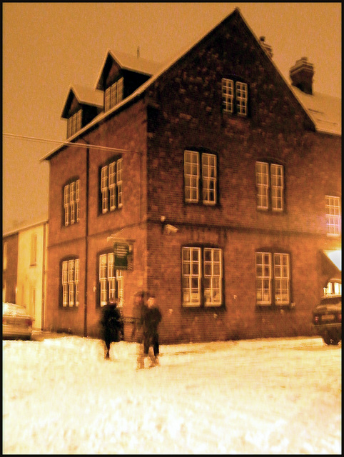 Jericho Community Centre on a snowy night