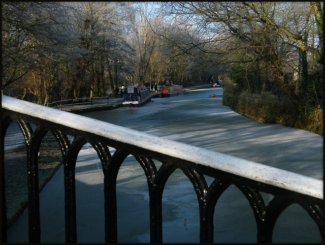 frozen canal at Isis Bridge