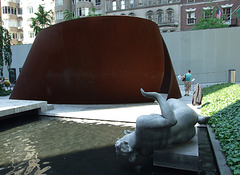 Works by Richard Serra and Aristide Maillol in the Museum of Modern Art's Sculpture Garden, May 2007