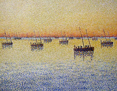 Detail of Setting Sun: Sardine Fishing by Paul Signac in the Museum of Modern Art, December 2007