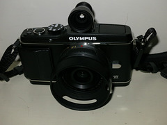 Olympus E-P3 with Panasonic 14/2.8 and Voigtlander 28mm finder.