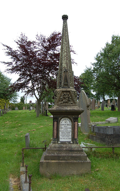 Memorial to Charles Angus Ross, Died of injuries sustained whilst playing football aged 19. March 1st 1879.