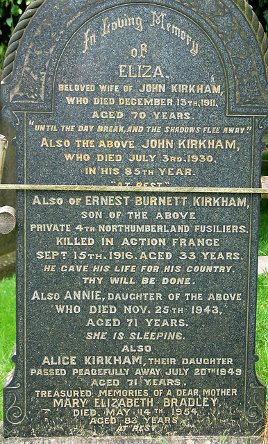 Kirkham Memorial, Leek Cemetery