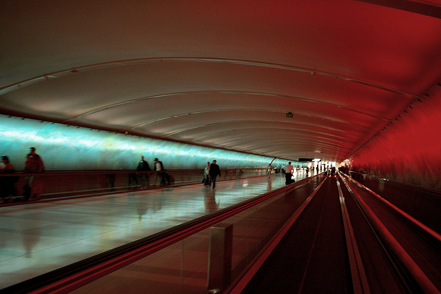 Airport tunnel - Red and blue