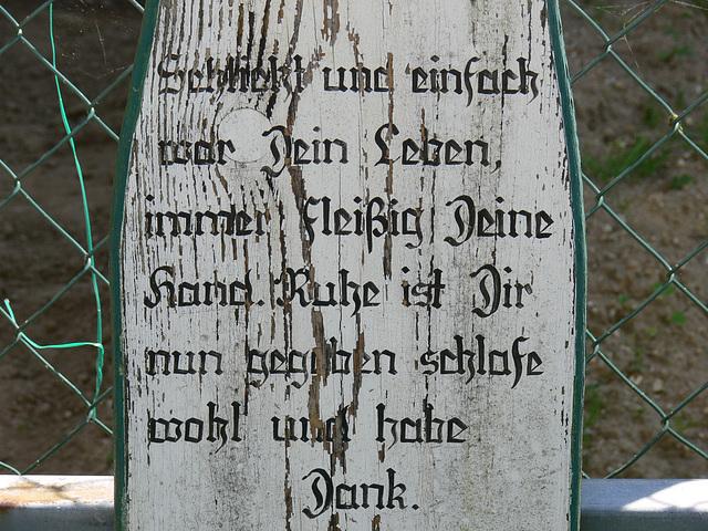 Inschrift am Totenbrett