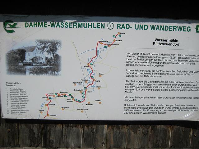 Hinweistafel Dahme Wassermühlen