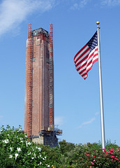 Jones Beach Water Tower Under Renovation with Flag, July 2010