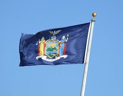 NY State Flag in Jones Beach, July 2010
