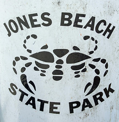 Detail of one of the Crab Garbage Cans in Jones Beach, July 2010