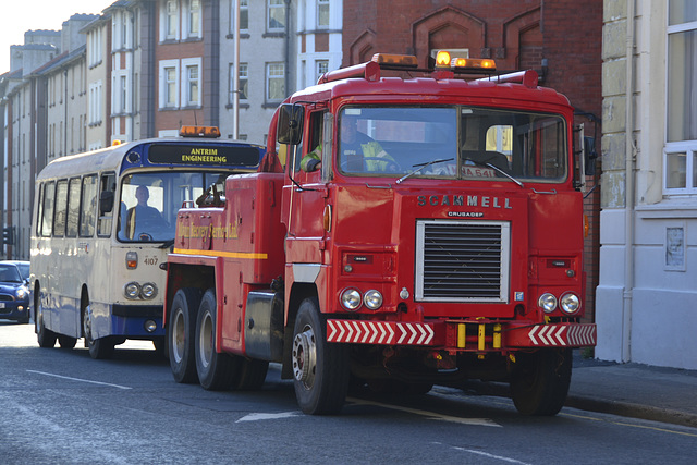 Isle of Man 2013 – Scammell Crusador with a 1978 Leyland Leopard bus on tow