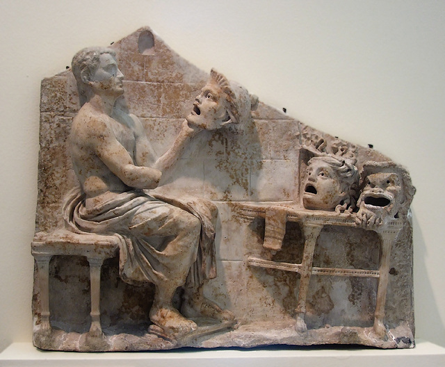 Relief of a Seated Poet (Menander) with Masks of New Comedy in the Princeton University Art Museum, August 2009