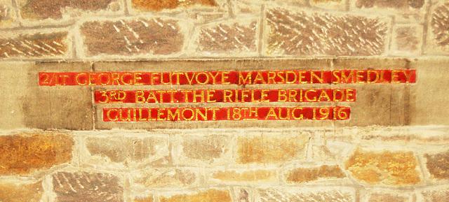 Memorial to George Marsden Smedley, Christ Church, Lea, Derbyshire